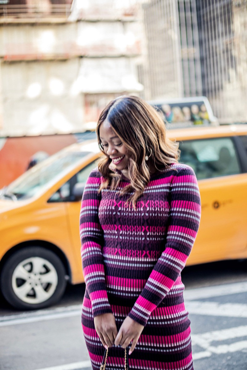 NYFW featured by top US life and style blogger Alicia Tenise; Image of a woman wearing Opening Ceremony dress, Dolce Vita boots, Tory Burch bag, Kendra Scott earrings and Bobbi Brown 'Burnt Cherry' lipstick.