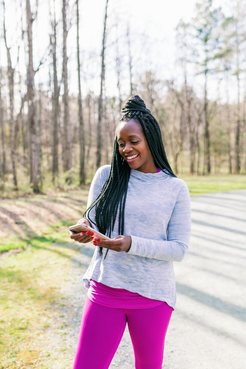 TRIM Bootcamp featured by top US life and style blogger Alicia Tenise; Image of a woman wearing New Balance x Isaac Mizrahi Live! Pullover Hoodie with Pocket.