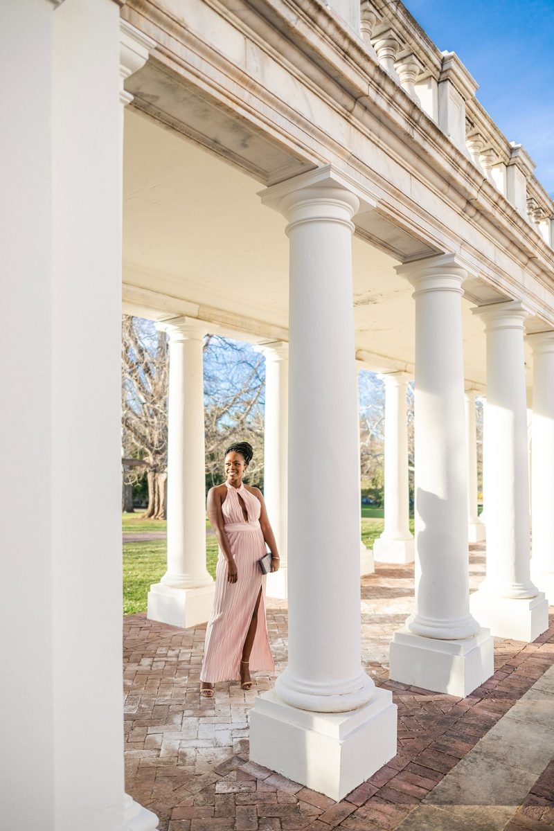 Black Tie Event Outfit featured by top US fashion blogger Alicia Tenise; Image of woman wearing The Jetset Diaries Blush Aster Halter Gown
