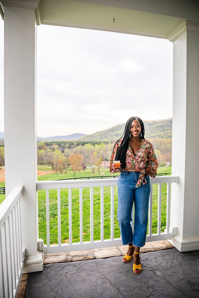 Influencer Event featured by top US influencer Alicia Tenise; Image of a woman wearing Madewell Slim Wide-Leg Jeans in Garrett Wash and Free People Party Playlist Blouse