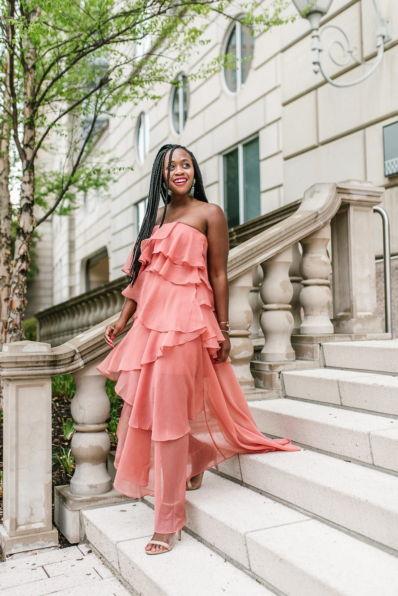 ASOS DESIGN Bandeau maxi dress with tiered ruffles in crinkle chiffon, rsTheCon Finale Party | rsTheCon 2019 Review featured by top US fashion blogger, Alicia Tenise