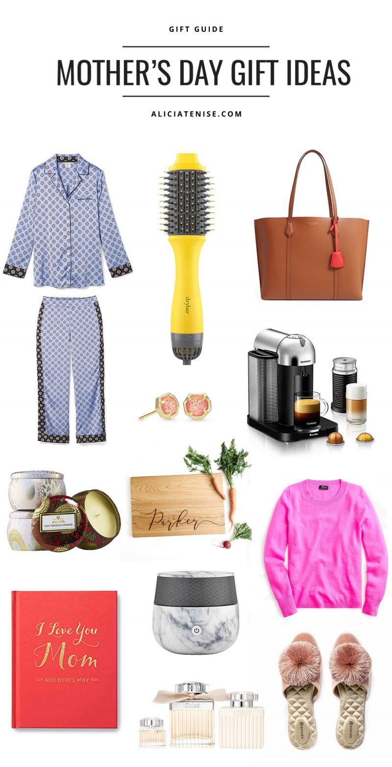 Unique Mother's Day Gift Ideas featured by top US life and style blogger Alicia Tenise | Mother's Day Gift Ideas by popular D.C. life and style blogger, Alicia Tenise: collage image of Satin Pajama Set, Double Shot Blow-Dryer Brush, Perry Leather Tote, Nola Stud Earrings, Nespresso Coffee and Espresso Maker, Mini Candle Trio, Personalized Cutting Board, Cashmere Sweater, I Love You Mom Book, Essential Oil Diffuser, Chloe Eau de Parfum Set, Songbird Slippers