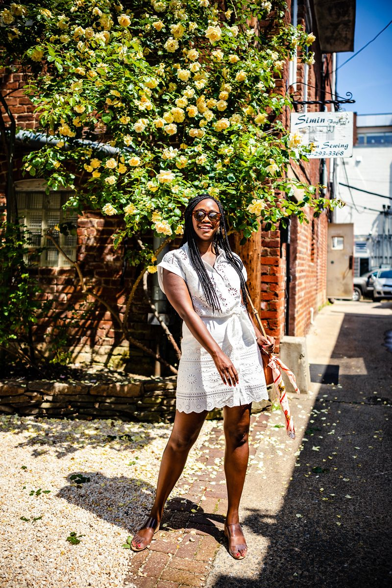 Weight Fluctuation featured by top US life and style blogger Alicia Tenise; Image of a woman wearing Veronica Beard dress, Sole Society handbag, Schutz shoes, & Other Stories sunglasses, Madewell bandana and Kendra Scott earrings.