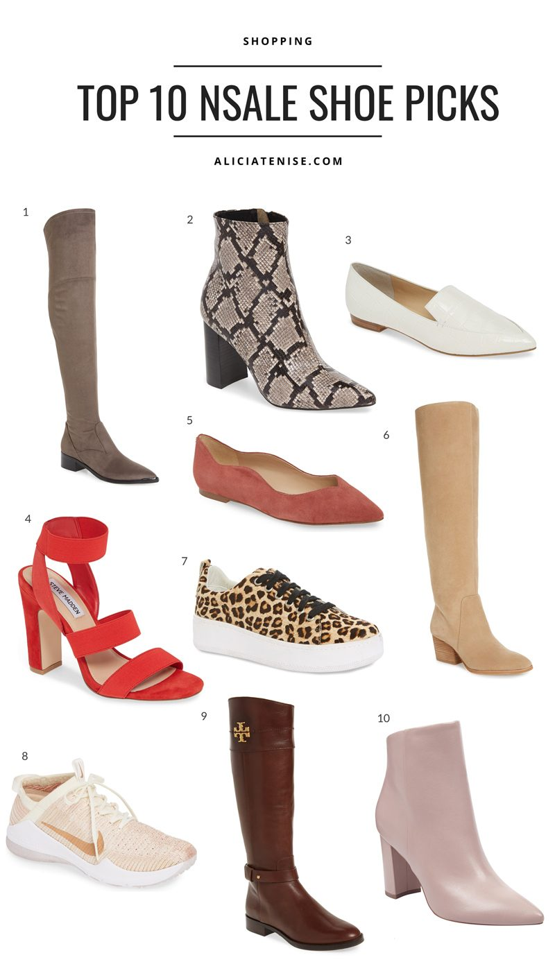 Nordstrom Anniversary Sale: Top 10 Shoe Picks featured by top US fashion blog, Alicia Tenise: collage image of top 10 Nordstrom Anniversary Sale shoe picks.