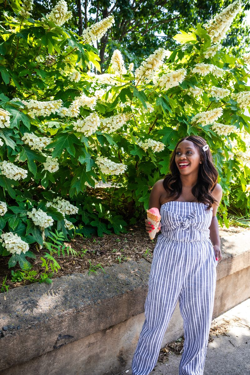 Aerie Tie Front Jumpsuit | Last Minute 4th of July Outfit Ideas by popular Washington DC fashion blogger, Alicia Tenise: image of a woman standing outside by a white flowering bush, holding an ice cream cone and wearing a blue and white stripe Aerie tie front jumper and Urban Outfiters Perfection Pearl Flip Clip.
