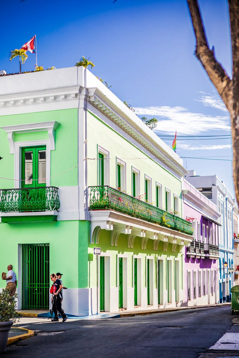 48 Hours in Old San Juan: A Travel Guide by popular Washington D.C. travel blogger, Alicia Tenise: image of colorful houses in Old San Juan, Puerto Rico.