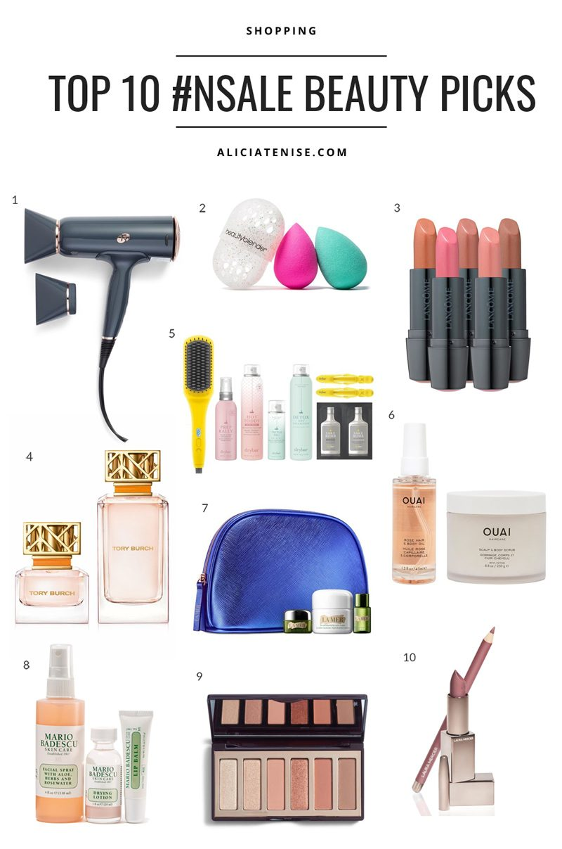 Nordstrom Anniversary Sale: Top 10 Beauty Picks featured by top US fashion blog, Alicia Tenise: collage image of top 10 Nordstrom Anniversary Sale beauty picks that are the T3 Cura Hair Dryer, Beautyblender Sponge Set, Lancome Ultimate Nude Lipstick Kit, Tory Burch Eau de Parfum Set, Drybar Brush Crush Set, OUAI To Glow Set, La Mer Mini Miracles Set, Mario Badescu The Essentials Set, Charlotte Tilbury Pocket Sized Eye Palette, Laura Mercier Effortless Lip Duo