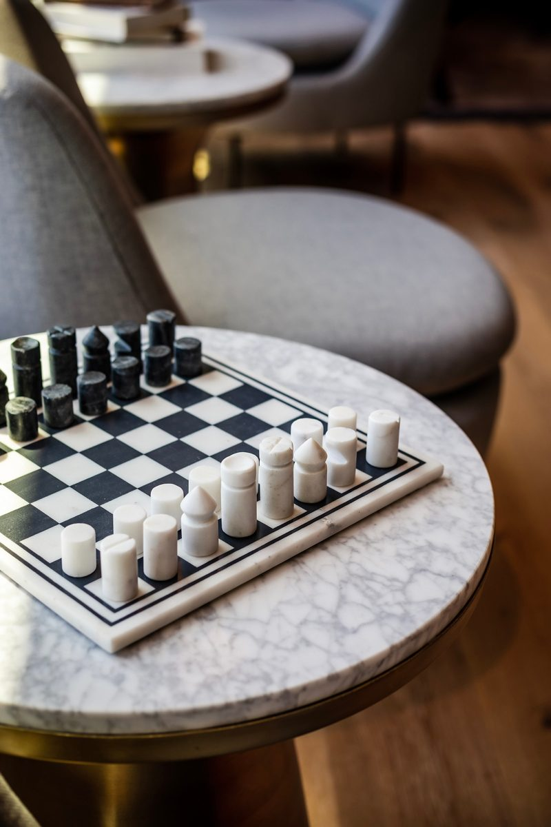 My Office Tour at Industrious Alexandria, VA by popular DC blogger, Alicia Tenise: image of a marble chess set.