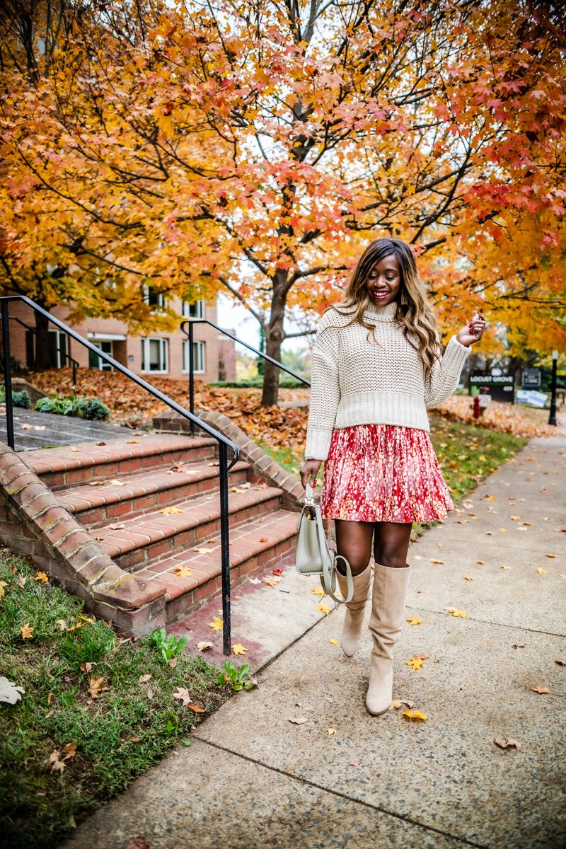 Free People My Only Sunshine Sweater, Free People Heartbeats Minidress, Vince Camuto Nestel Knee High Boot | My Favorite Nordstrom Fall Boots by popular Washington DC fashion blogger, Alicia Tenise: image of a woman outside wearing Nordstrom Vince Camuto Nestel Knee High Boot and Nordstrom Free People Heartbeats Minidress.