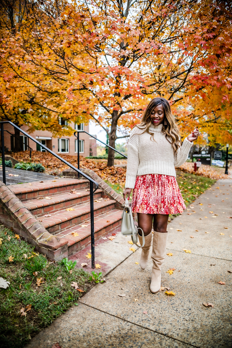 Free People My Only Sunshine Sweater, Free People Heartbeats Minidress, Vince Camuto Nestel Knee High Boot