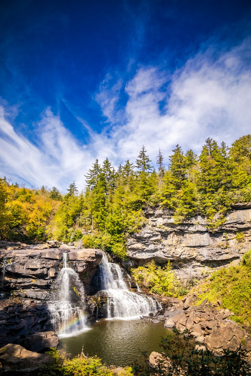 Blackwater Falls State Park | Fall Foliage by D.C. travel blogger, Alicia Tenise: image of a waterfall at Blackwater Falls State Park.