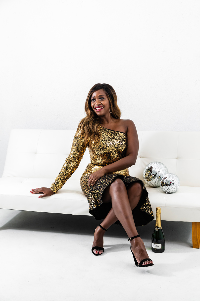 Rent the Runway Holiday Style Favorites featured by top US fashion blogger, Alicia Tenise: image of a woman wearing a Marchesa Notte Gold Sequin Cocktail Dress