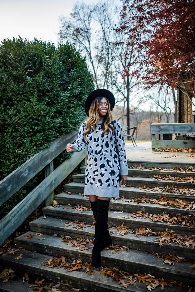 Cold Weather Essentials from Walmart featured by top US fashion blogger, Alicia Tenise: image of a woman wearing Scoop Women's Leopard Print Sweater Dress