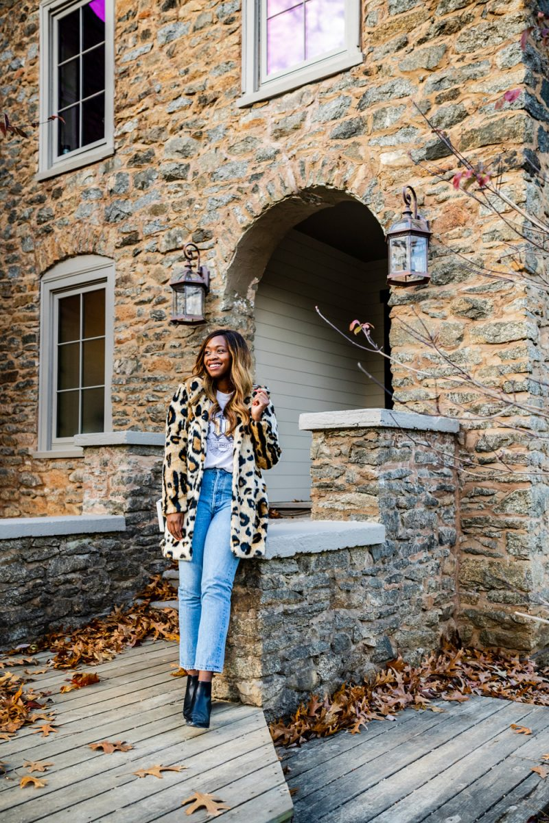 Cold Weather Essentials from Walmart featured by top US fashion blogger, Alicia Tenise: image of a woman wearing Scoop Women's Vegan Fur Leopard Printed Coat