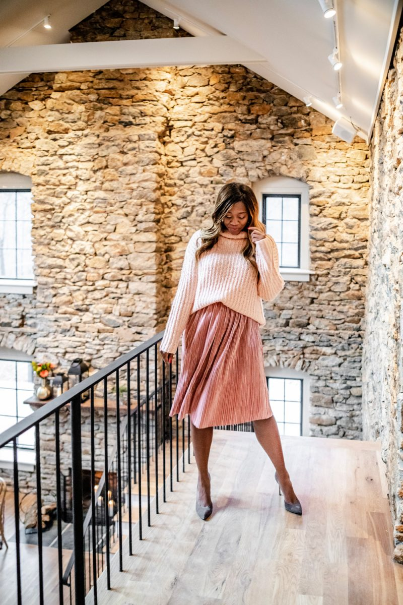 Cold Weather Essentials from Walmart featured by top US fashion blogger, Alicia Tenise: image of a woman wearing Scoop Women's Waffle Knit Turtleneck Sweater and Women's Pleated Metallic Skirt - Walmart.com