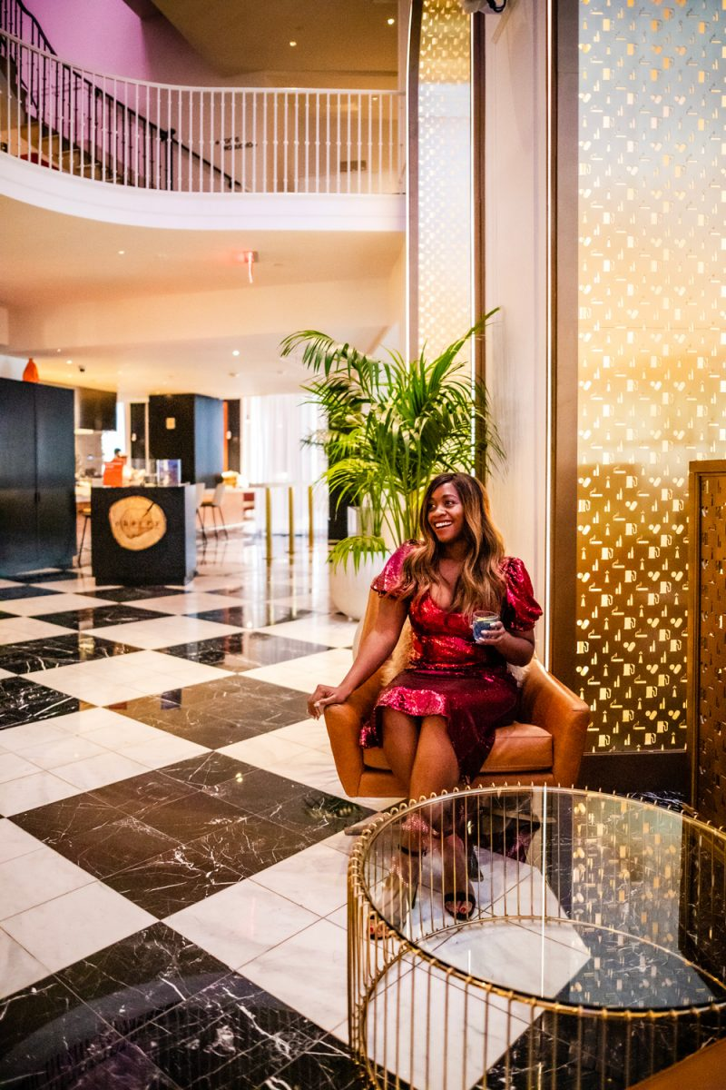 W Hotel Washington D.C. Lobby | The Best New Years Eve Dresses for 2019 by popular Washington D.C. fashion blogger, Alicia Tenise: image of a woman wearing a ShopBop Keepsake Farewell Midi Dress and Nordstrom Steve Madden Carrson Sandal.