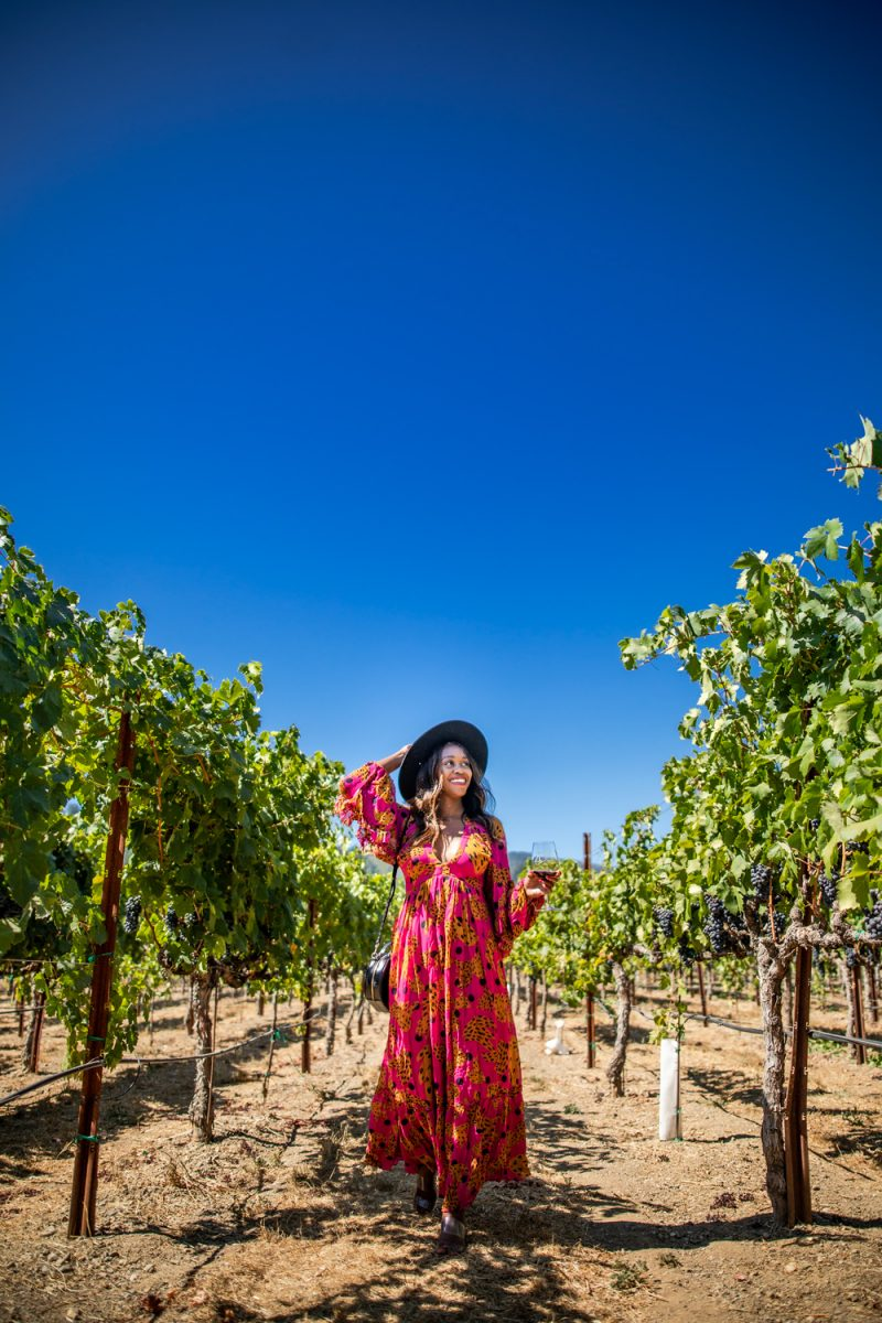 Alicia Tenise in Dry Creek Valley | Black Owned Wineries by popular D.C. lifestyle blogger, Alicia Tenise: image of Alicia Tenise standing in a vineyard at Dry Creek Valley an holding a wine glass containing red wine.