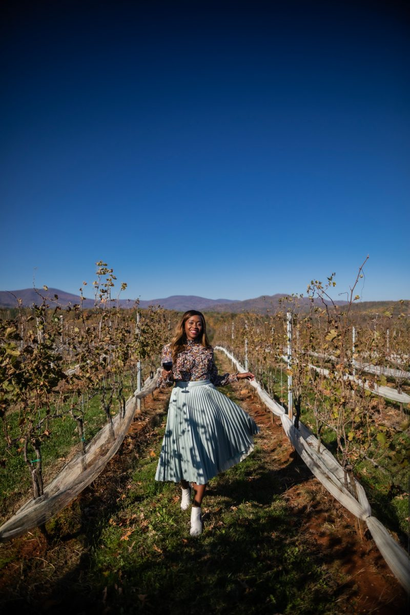 I Don't Fit In the Influencer Industry (And It's OK) by popular Washington DC life and style blogger, Alicia Tenise: image of a woman standing in a vineyard and wearing a Nordstrom Halogen x Atlantic-Pacific Pleated Croc Faux Leather Midi Skirt and Zappos Marc Fisher LTD Taci.