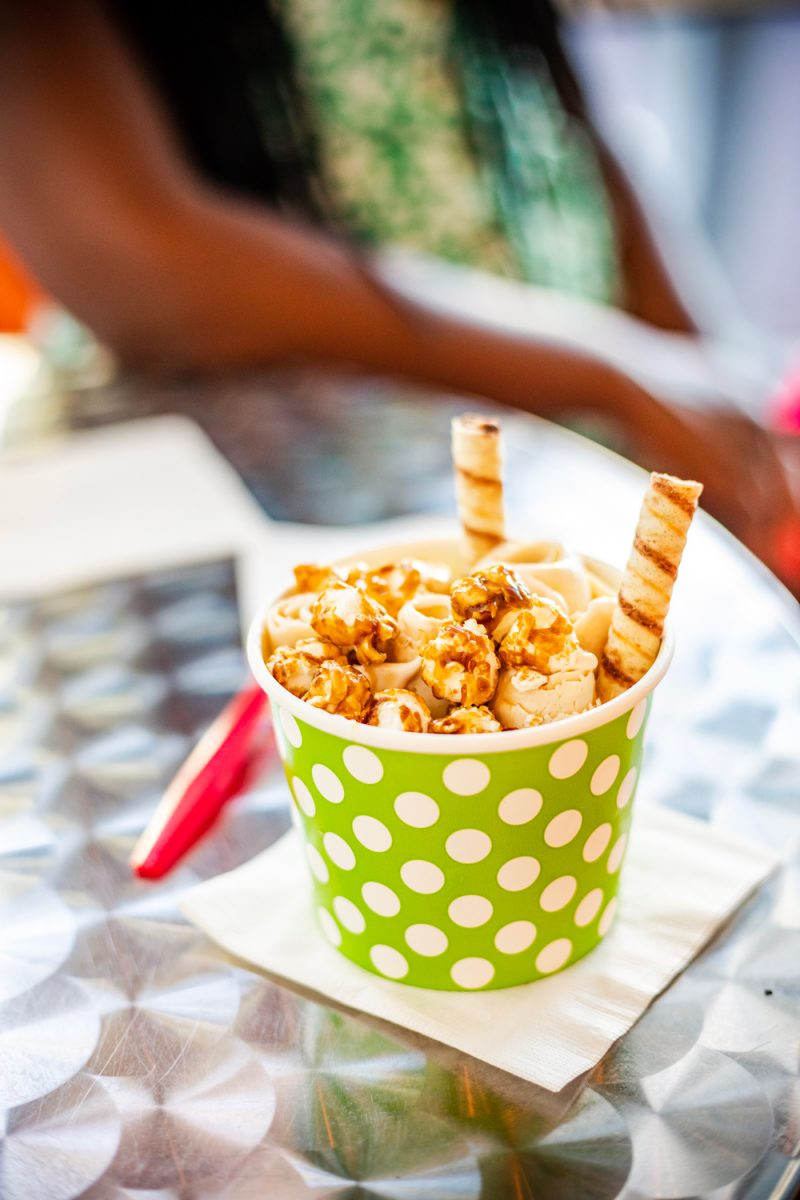 Things to do in Miami in the Spring: image of ice cream in a green and white polka dot cup.