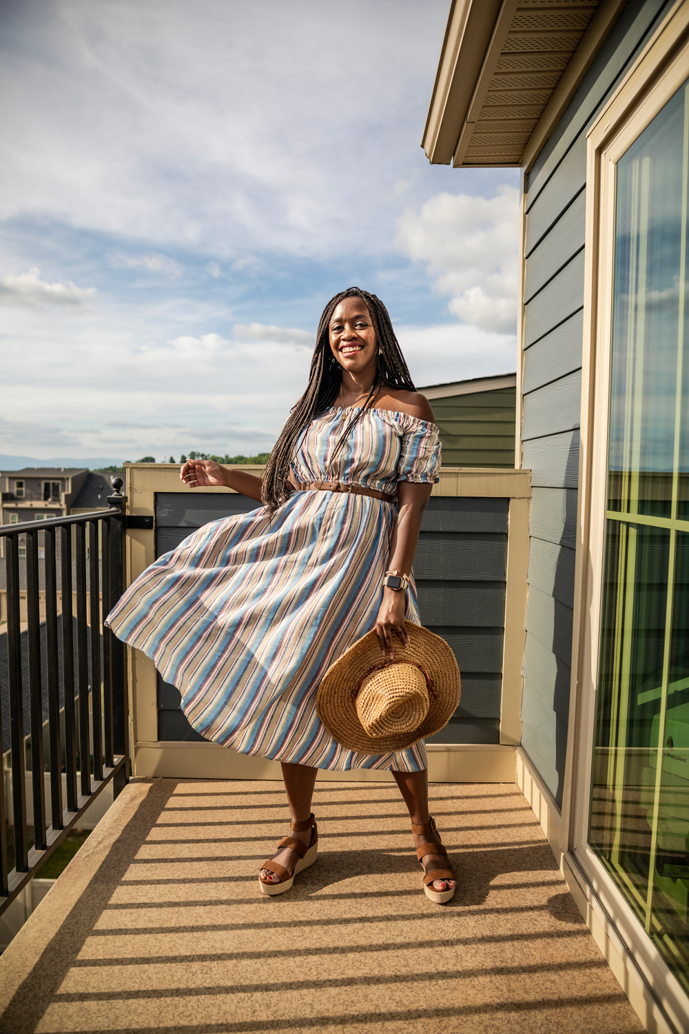 Walmart Fashion: Summer Essentials Under $50 Pieces You Need featured by top D.C. fashion blogger, Alicia Tenise: image of a woman wearing a Scoop Women's Off The Shoulder Dress, Scoop Crochet Cowboy Hat
