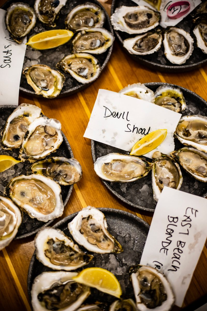 Coastal Provisions Oyster Bar & Wine Bar Café | Things to do in the Outer Banks by popular D.C. travel blogger, Alicia Tenise: image of various plates of oysters.