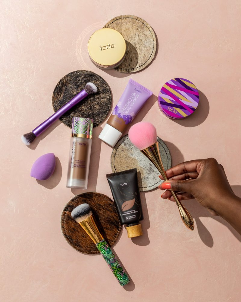 Best Tarte Foundations by popular D.C. beauty blogger, Alicia Tenise: image of various Tarte foundations and foundation application brushes.