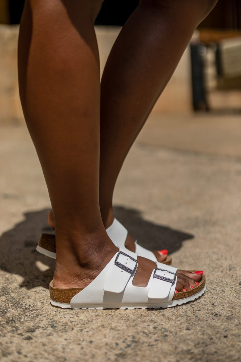 Birkenstock Arizona Sandal | Scoop Dress by popular D.C. fashion blogger, Alicia Tenise: image of of Alicia Tenise wearing a pair of Walmart Women's Birkenstock Arizona Birko-Flor Sandal.