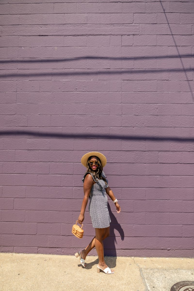 Scoop Women's Ruffle Sleeve Shift Dress | Scoop Dress by popular D.C. fashion blogger, Alicia Tenise: image of of Alicia Tenise wearing a Walmart Scoop Women's Ruffle Sleeve Shift Dress, Walmart Scoop Super Fedora, and block heel sandal.