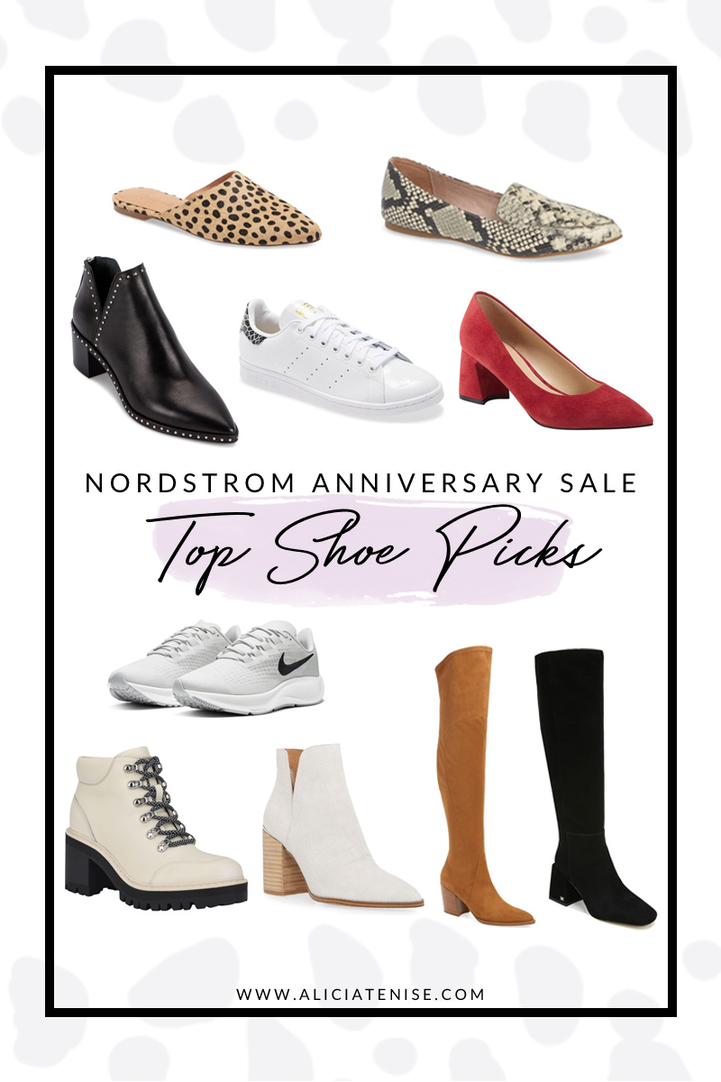 Top 10 Shoe Picks from the Nordstrom Anniversary Sale | Nordstrom Anniversary Sale by popular D.C. fashion blogger, Alicia Tenise: collage image of a Nordstrom Madewell Remi Mule, Nordstrom Steve Madden Feather Loafer, Nordstrom Dolce Vita Bo Booties, Nordstrom Adidas Stan Smith Sneaker, Nordstrom Marc Fisher LTD Yulunda Pump, Nordstrom Nike Air Zoom Pegasus 37 TB Running Shoe, Nordstrom Marc Fisher LTD Waldo Lace-Up Platform Bootie, Nordstrom Steve Madden Kaylah Pointed Toe Bootie, Nordstrom Marc Fisher LTD Cathi Pointed Toe Over the Knee Boot, and Nordstrom Sam Edelman Davis Knee High Boot.