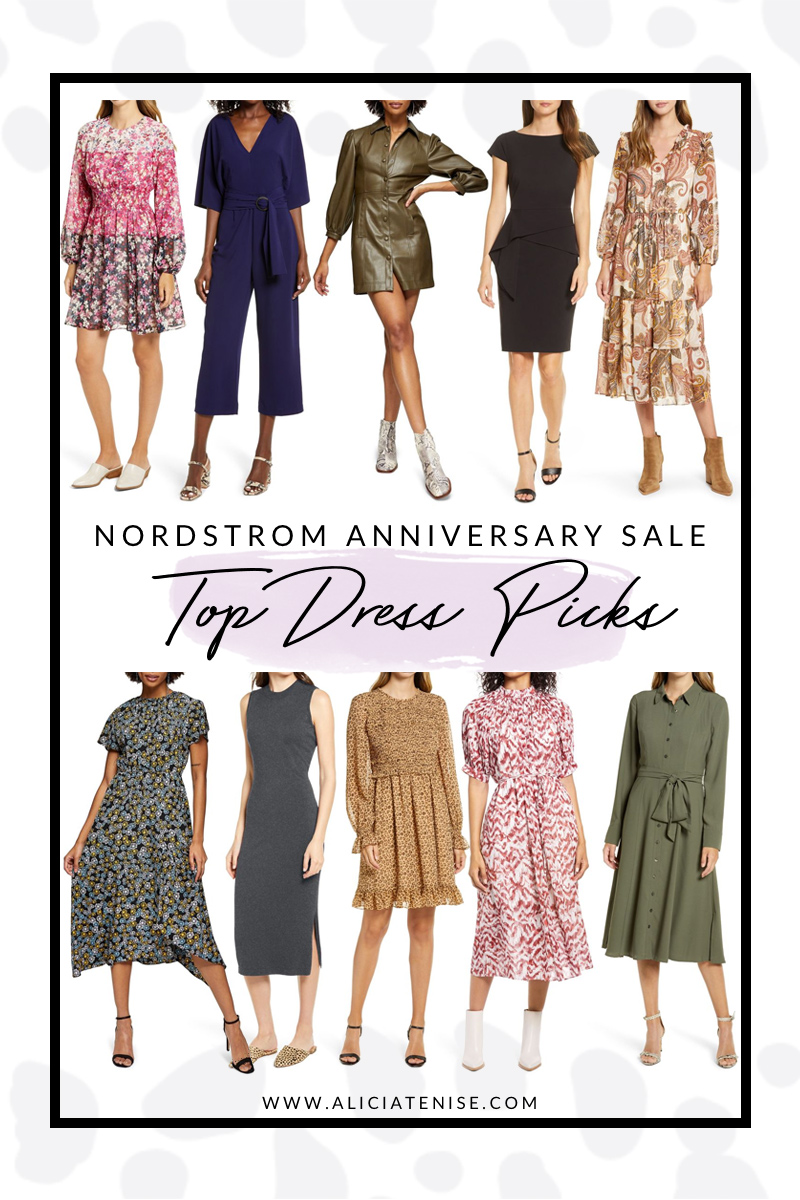 Nordstrom Anniversary Sale Day Dress Picks featured by top VA fashion blogger, Alicia Tenise | Nordstrom Anniversary Sale by popular D.C. fashion blog, For the Love: collage image of a Nordstrom Colorblock Floral Smocked Waist Long Sleeve Dress ELIZA J, Nordstrom Dolman Sleeve Belted Crop Jumpsuit BB DAKOTA, Nordstrom Long Sleeve Faux Leather Shirtdress TOPSHOP, Nordstrom Cap Sleeve Peplum Sheath Dress VINCE CAMUTO, Nordstrom Long Sleeve Tiered Chiffon Midi Dress JULIA JORDAN, Nordstrom Floral Print Ruched Neck Midi Dress TOPSHOP, Nordstrom Sleeveless Midi Sweater Dress CHELSEA28, Nordstrom Smocked Ruffle Dress RACHEL PARCELL, Nordstrom Puff Sleeve Pleated Midi Dress MAGGY LONDON, and Nordstrom Tie Waist Long Sleeve Shirtdress RACHEL PARCELL.