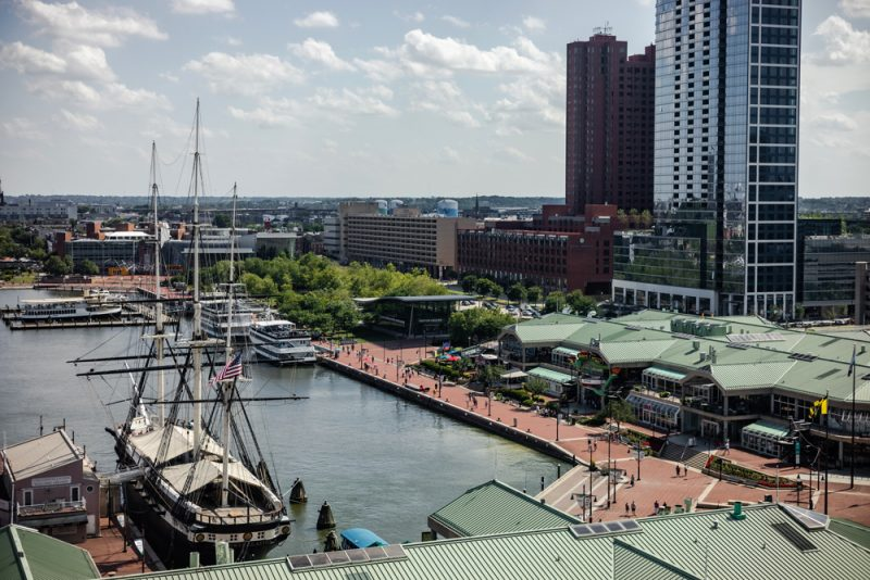 Baltimore Inner Harbor | Road Trip Ideas by popular D.C. travel blogger, Alicia Tenise: image of Baltimore inner harbor.