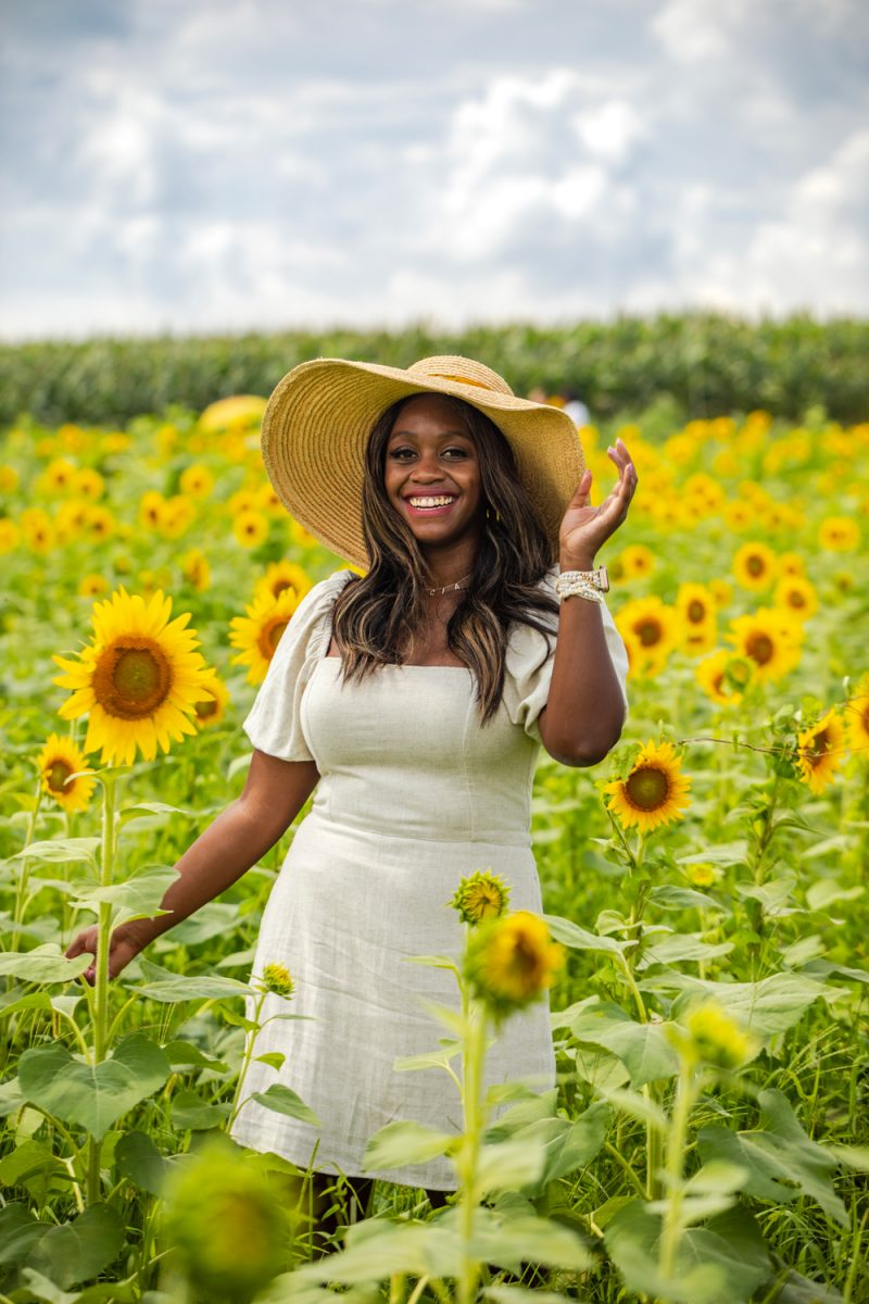 What to Wear to a Sunflower Field | Being 30 by popular D.C. lifestyle blogger, Alicia Tenise: image of Alicia Tenise standing in a sunflower field and wearing a Hat Attack Coco Sunhat and Abercrombie and Fitch Puff-Sleeve Linen-Blend Mini Dress.