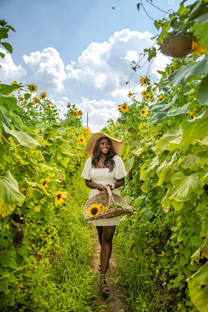 Sunflower Picking in Northern Virginia | Being 30 by popular D.C. lifestyle blogger, Alicia Tenise: image of Alicia Tenise standing in a sunflower field and wearing a Hat Attack Coco Sunhat and Abercrombie and Fitch Puff-Sleeve Linen-Blend Mini Dress.