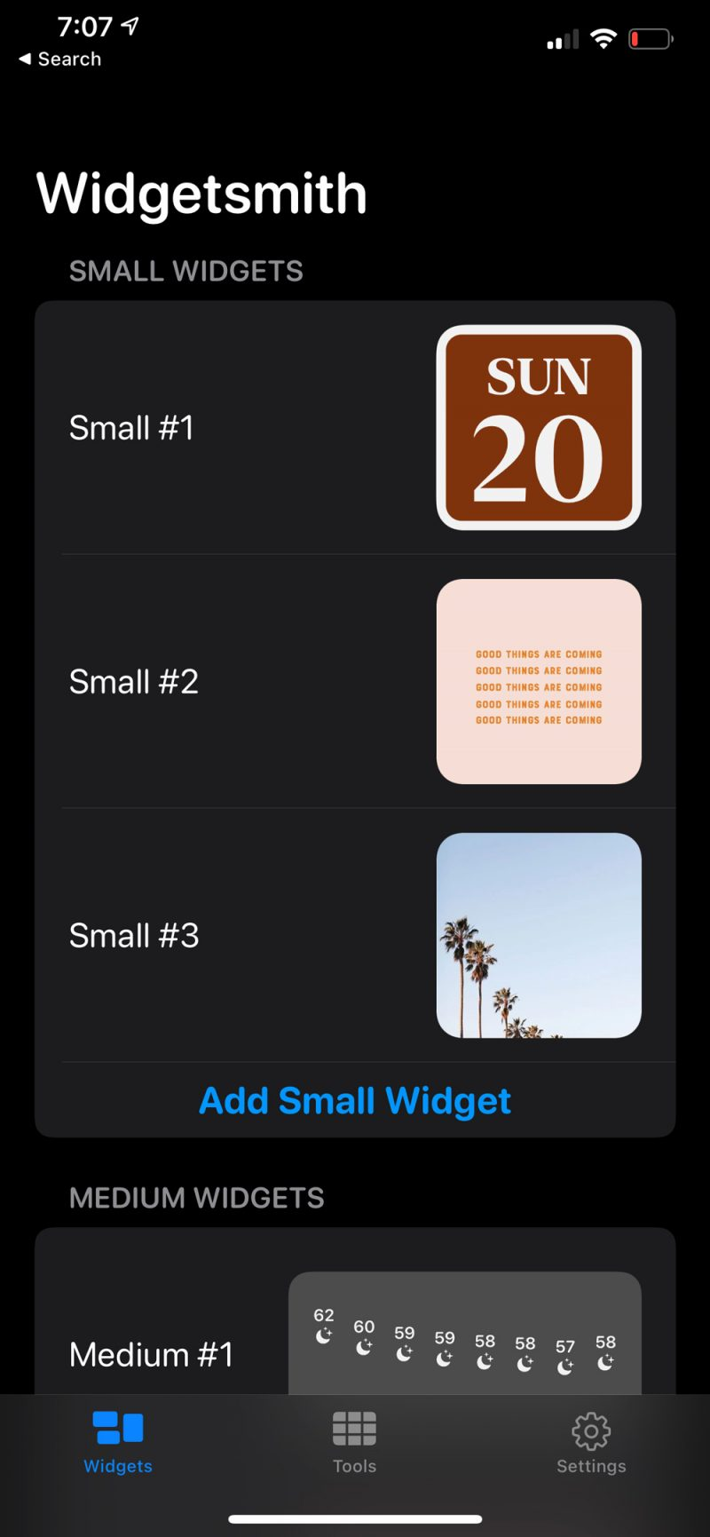 How to Use Widgetsmith | How to Customize Widgets on iPhone by popular D.C. lifestyle blogger, Alicia Tenise: image of a Widgetsmith screen.