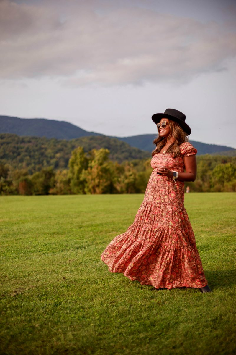 Free People Getaway Midi Dress, King Family Vineyard | What to Wear to a Winery by popular D.C. fashion blogger, Alicia Tenise: image of Alicia Tenise standing outside at at winery and wearing a Free People Getaway Midi Dress and Lack of Color Benson Tri hat.