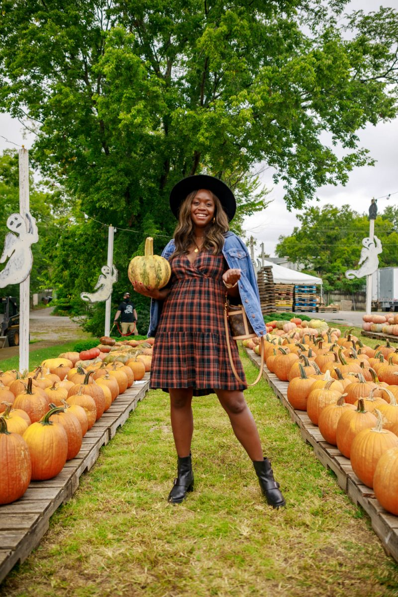 Madewell Plaid Short Sleeve Tiered Faux Wrap Minidress | Professional Blogging by popular D.C. lifestyle blogger, Alicia Tenise: image of Alicia Tenise visiting a pumpkin patch and wearing a Madewell Plaid Short Sleeve Tiered Faux Wrap Minidress, black hat, denim jacket and black ankle boots.