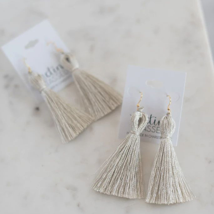 The Tiny Tassel Earrings |Gifts for Inlaws by popular D.C. life and style blogger, Alicia Tenise: image of white tassel earrings.