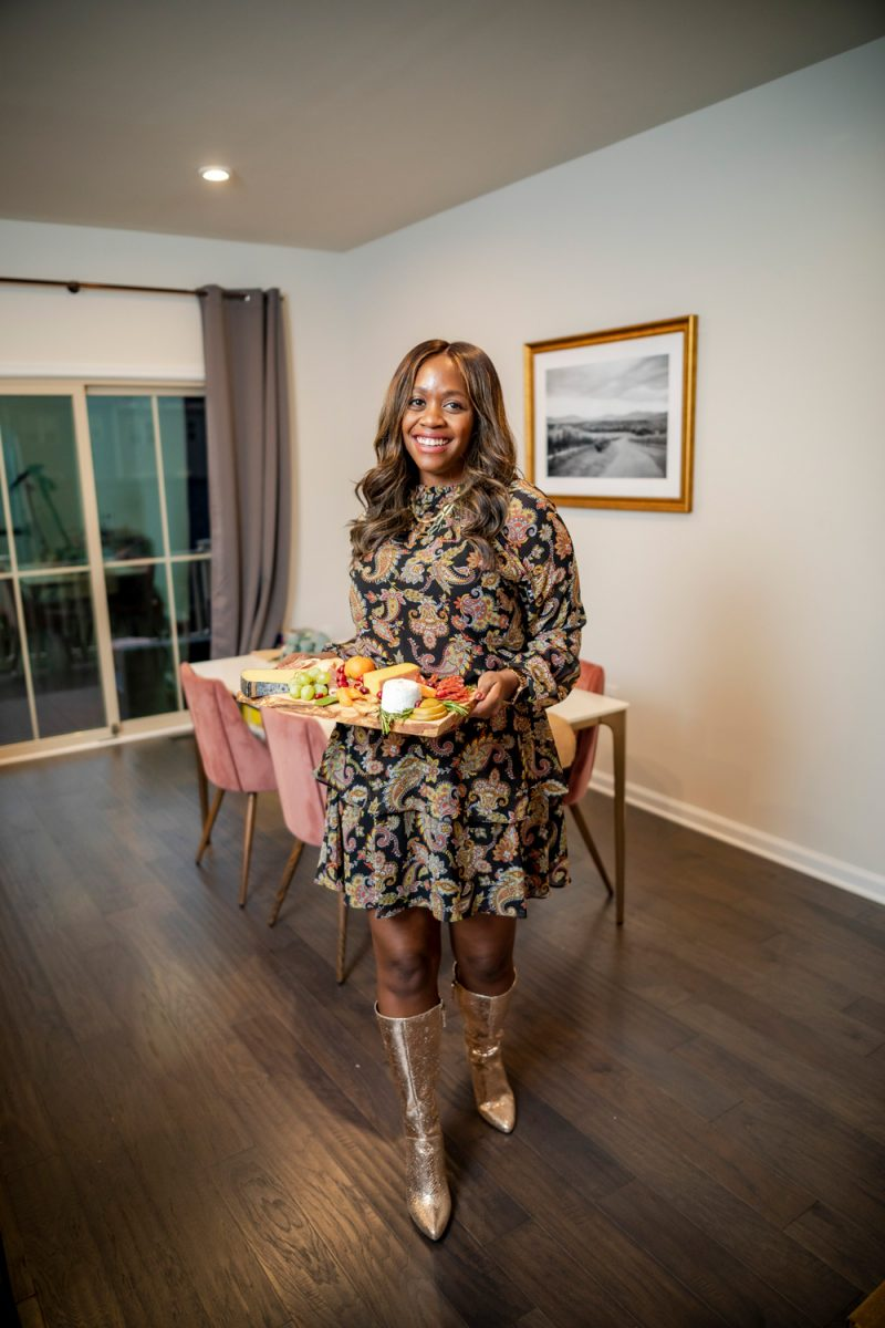 Thanksgiving Outfit Idea, Scoop Women's Tiered High Neck Dress |Holiday Outfits by popular D.C. fashion blogger, Alicia Tenise: image of Alicia Tenise wearing a Walmart Scoop Women's Tiered High Neck Dress and Walmart Scoop Women's Poppy High Heeled Metallic Boots.