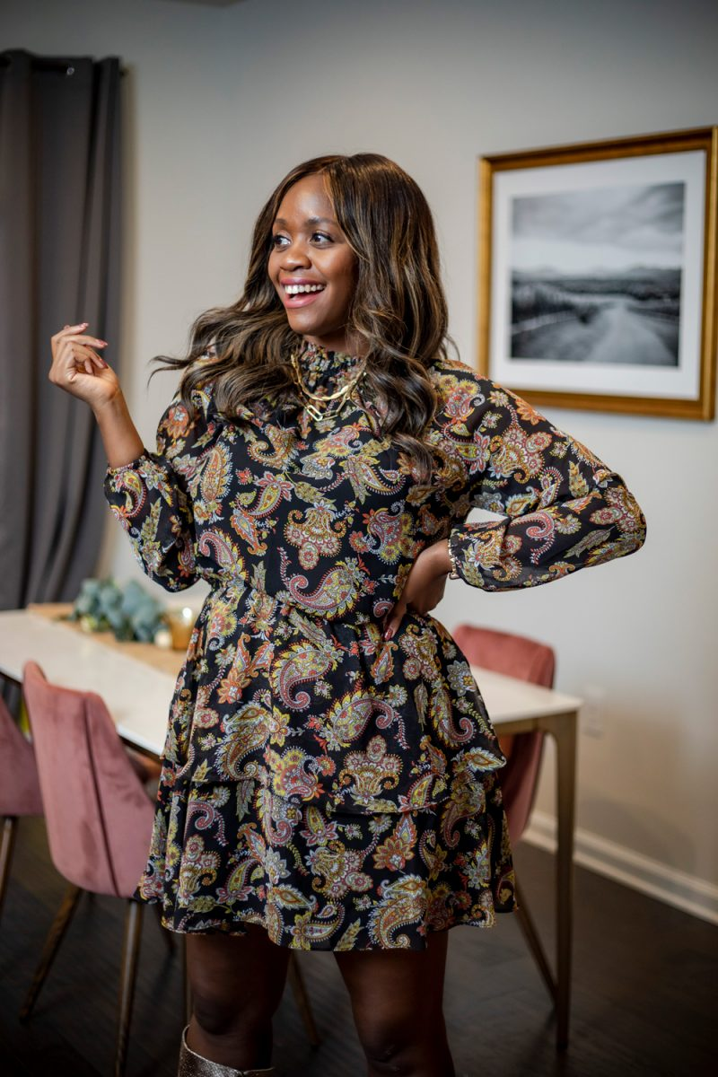 Scoop Women's Tiered High Neck Dress   Holiday Outfits by popular D.C. fashion blogger, Alicia Tenise: image of Alicia Tenise wearing a Walmart Scoop Women's Tiered High Neck Dress and Walmart Scoop Women's Poppy High Heeled Metallic Boots.