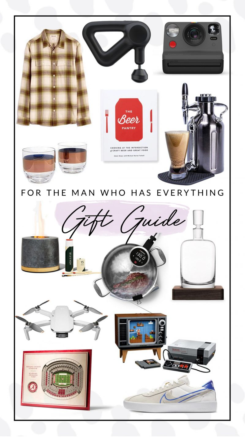 Gift Ideas for the Man Who Has Everything |Gift Ideas for Men Who Have Everything by popular D.C. life and style blogger, Alicia Tenise: collage image of a Polaroid camera, plaid shirt, drinking glasses, The Beer Pantry guide, Nintendo lego set, Nike sneakers, drone, Nitro Cold Brew Maker, Elevated Whiskey glasses, Sous Vide pressure cooker, decanter, stadium wall art, and indoor fire pit.