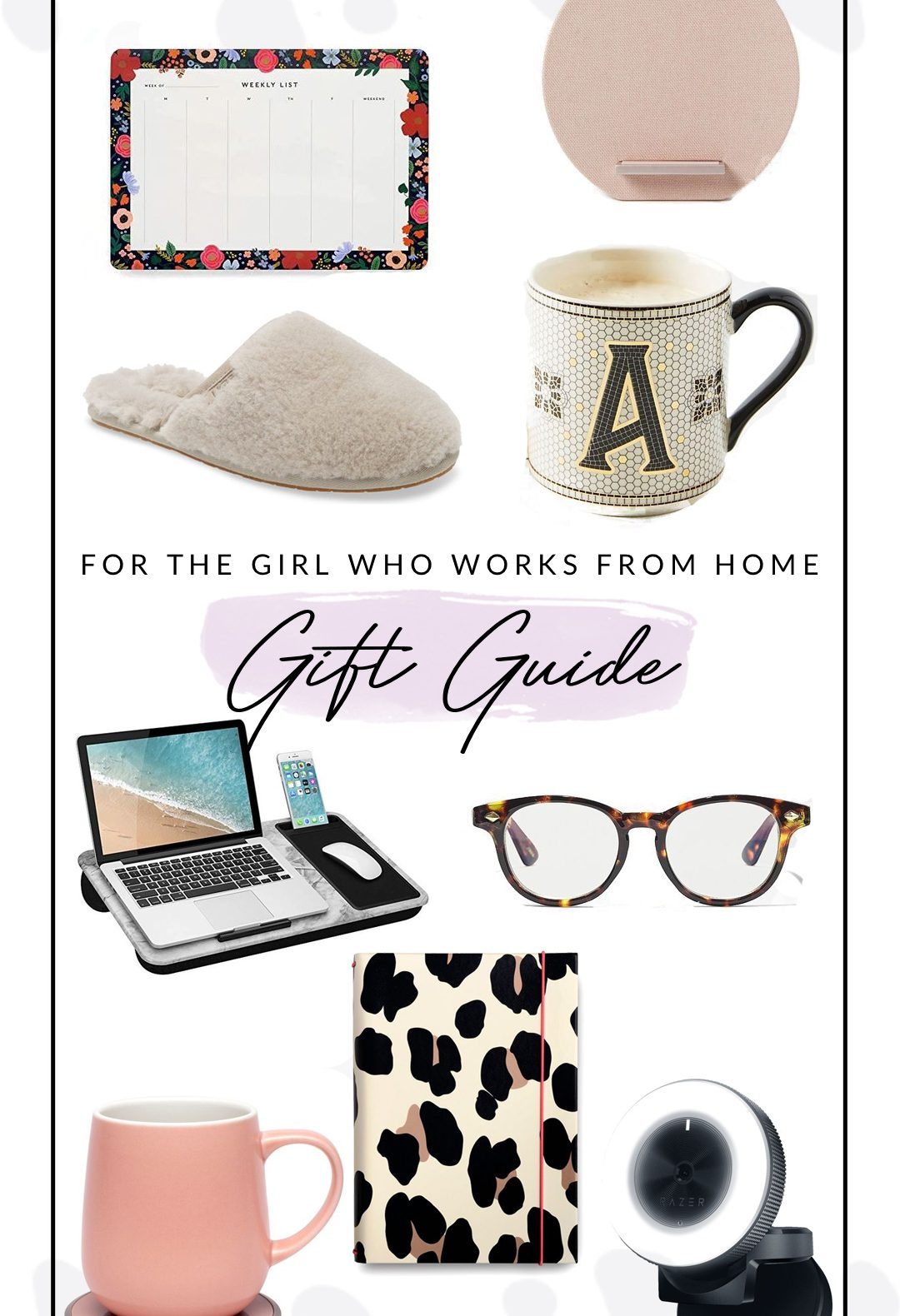 Best Christmas Gift Ideas by popular D.C. life and style blogger, Alicia Tenise: collage image of blue light glasses, slippers, initial mug, leopard print planner, desk top calendar, and laptop tray.