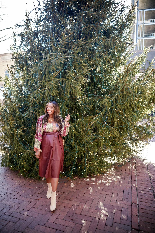 Coralia Faux Leather Midi Skirt, Tara Smocked Blouse