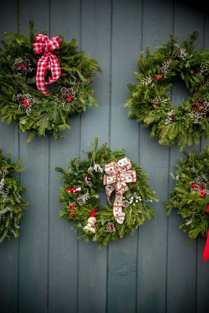 Greene Meadows Farm Christmas Wreaths |Walmart Free Assembly by popular D.C. fashion blogger, Alicia Tenise: image of Greene Meadows Farm Christmas wreaths.