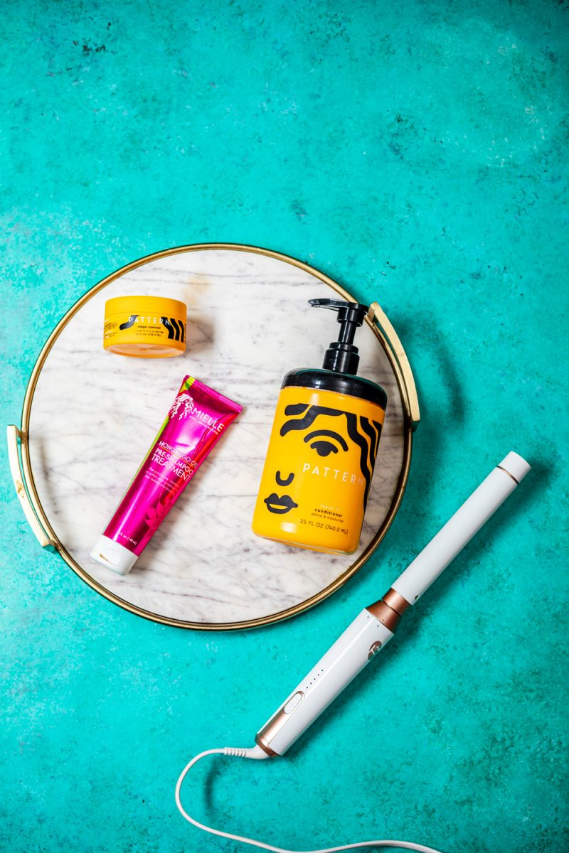 Natural Hair Products by D.C. beauty blogger, Alicia Tenise: image of a T3 styling wand, Patter Beauty Edge Control, Pattern Beauty Leave-In Conditioner, and Mielle Organics Mongongo Oil Pre-Shampoo Treatment.