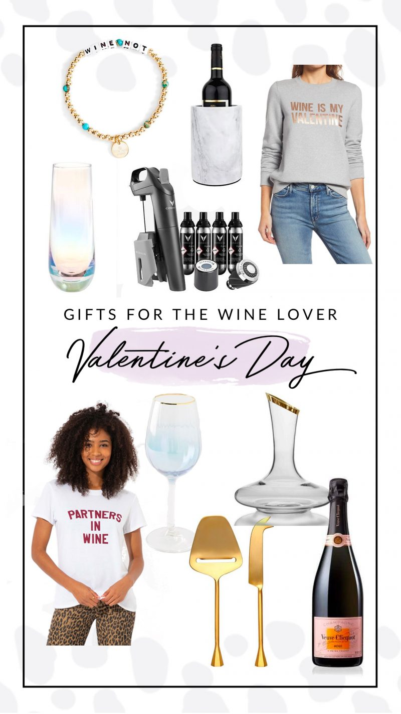 Valentine's Day Gift Guide: Top 10 Gifts for the Wine Lover |Valentine's Day Gift Guide by popular D.C. life and style blogger, Alicia Tenise: collage image of a wine charm bracelet, wine cooler, wine sweatshirt, wine t-shirt, gold cheese cutting set, wine decanter, bottle of red wine, opaque stem wine glass, iridescent wine flute, and Coravin model 3.