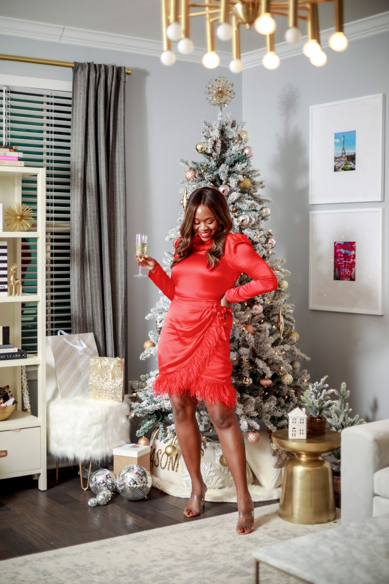 SAYLOR Quin Dress in Fire | 2021 Intentions by popular D.C. lifestyle blogger, Alicia Tenise: image of Alicia Tenise standing in front of her Christmas tree and wearing a Saylor Quin Dress and Nordstrom Ariella Sandal SCHUTZ.