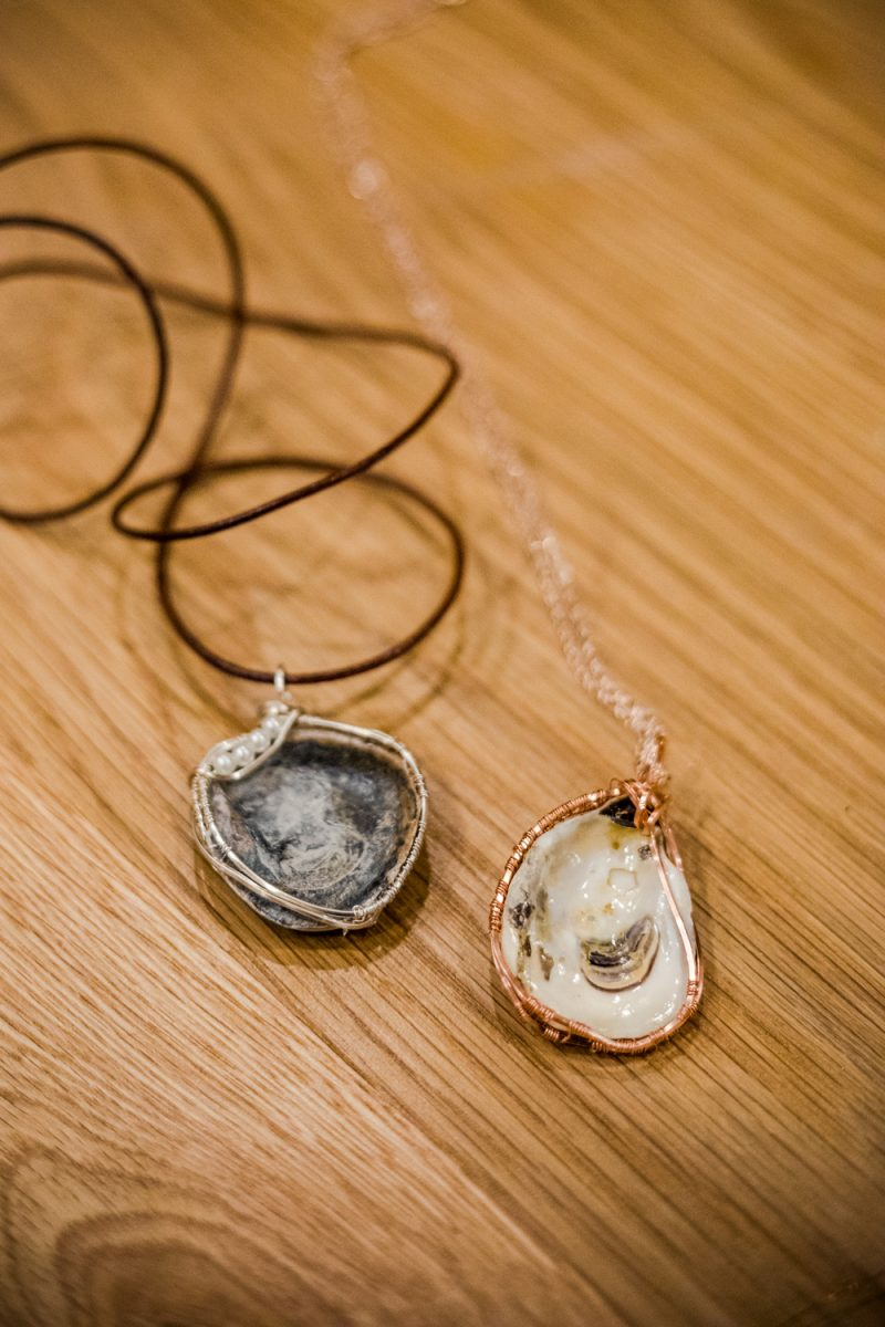 Oyster Jewelry Making Class at the Tides Inn |Tides Inn in Irvington by popular D.C. travel blogger, Alicia Tenise: image of oyster shell jewelry.