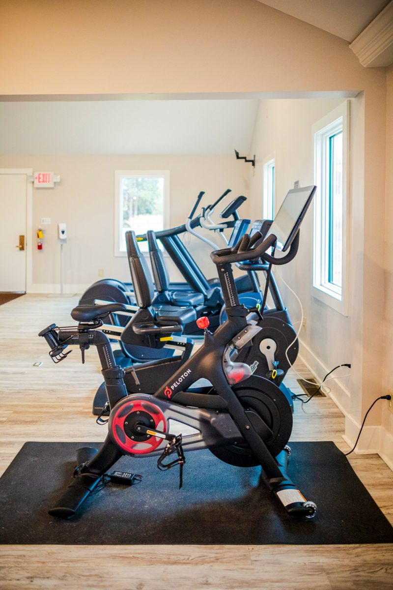 The Fitness Center at The Tides Inn, Peloton Bikes at a Hotel |Tides Inn in Irvington by popular D.C. travel blogger, Alicia Tenise: image of Peloton bike.
