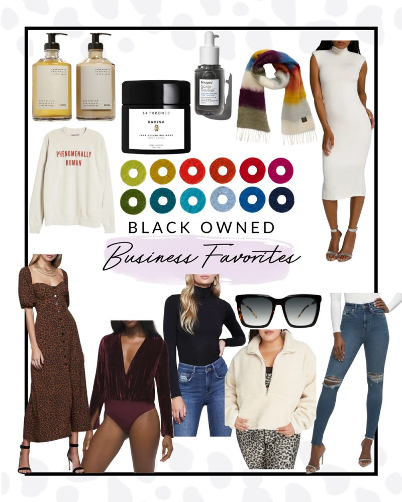 Black Owned Businesses by popular D.C. lifestyle blogger, Alicia Tenise: collage image of a GOODEE x Frama Apothecary Body Wash & Lotion Set, Phenomenally Human sweatshirt, white mock neck bodycon dress, leopard print midi dress, purple velvet bodysuit, black mock neck turtleneck, distressed denim, cream fleece pullover, black frame sunglasses, rainbow stripe scarf, and 54 Thrones Kahina Lava Cleansing Mask.