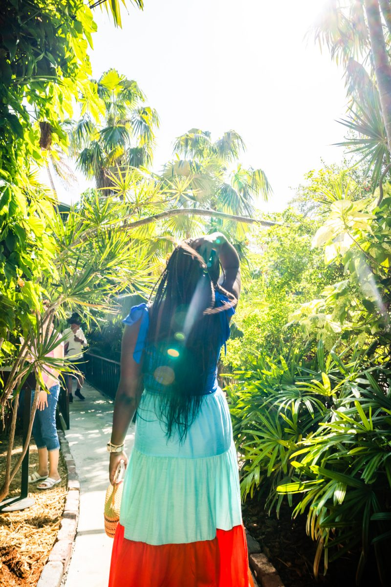 Hemingway House Key West |Florida Keys Road Trip by popular D.C. travel blogger, Alicia Tenise: image of Alicia Tenise wearing a multi color maxi dress at the Hemingway house.